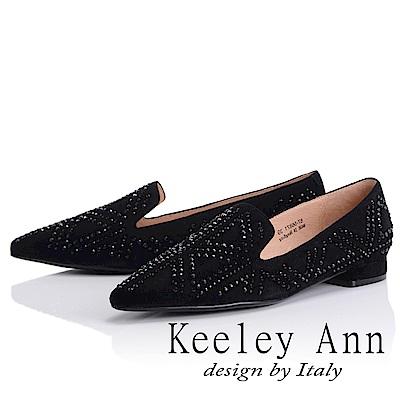 Keeley Ann 簡約美學~大方滿鑽U型樂福鞋(黑色-Ann)
