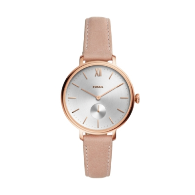 FOSSIL優雅小秒針時尚腕錶/粉色皮帶ES4572