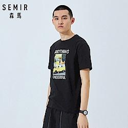 SEMIR森馬-美式休閒印花英文字母純棉短袖T恤-男(2色)