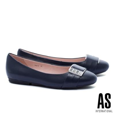 平底鞋 AS 白鑽方釦全真皮圓頭平底鞋-藍