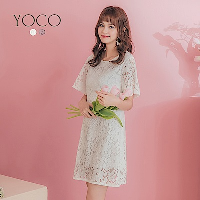 東京著衣-YOCO 經典名媛滿版蕾絲後拉鍊修身洋裝-S.M.L(共兩色)