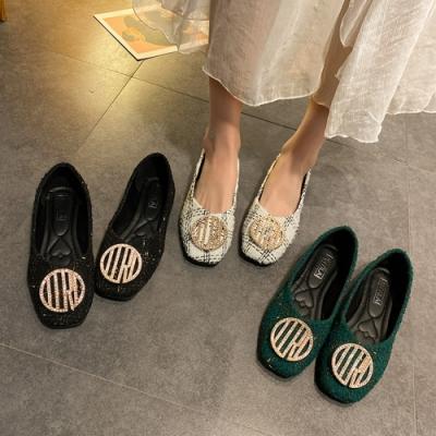 KEITH-WILL時尚鞋館獨家秒殺格紋水鑽華麗方頭鞋