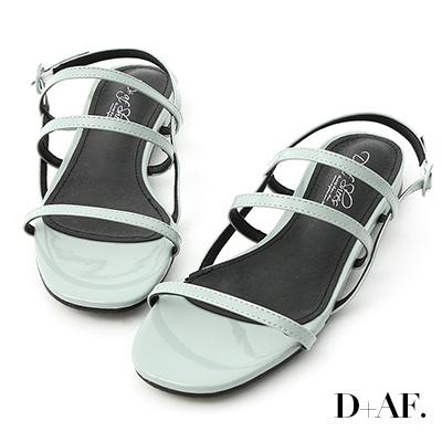 D+AF 仲夏焦點.三條帶漆皮低跟涼鞋*綠