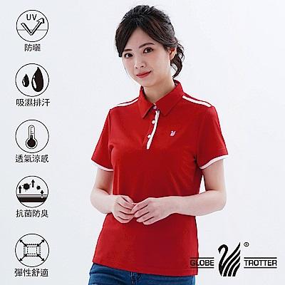 【遊遍天下】MIT女款吸濕排汗抗UV機能POLO衫GS10033紅色