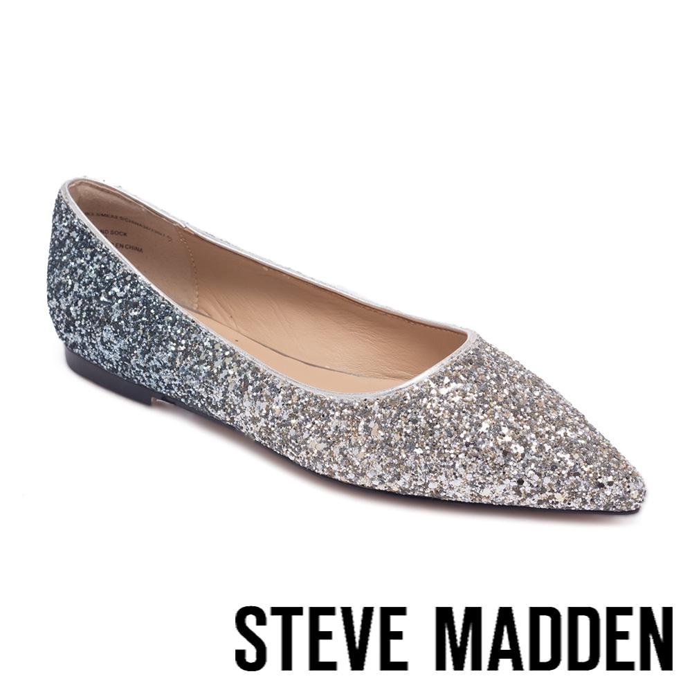 STEVE MADDEN-COERCE 閃耀漸層尖頭平底鞋-銀色