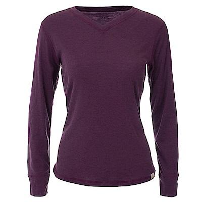 法國【EiDER】 女保暖排汗機能型V領排汗衣紫