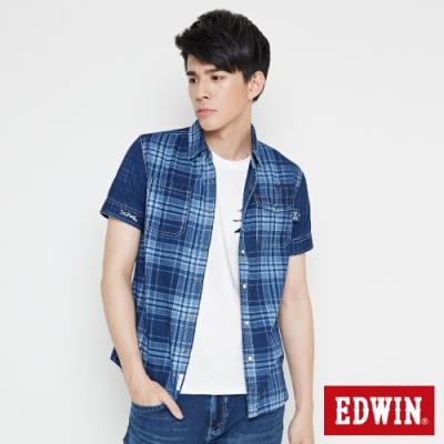 EDWIN 江戶勝INDIGO印格襯衫-男-拔洗藍