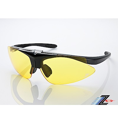 【Z-POLS】MIT頂級可掀設計霧黑搭配夜用黃防爆PC頂級運動眼鏡