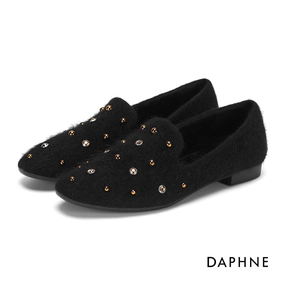 達芙妮DAPHNE 平底鞋-水鑽鉚釘毛海低跟樂福平底鞋-黑