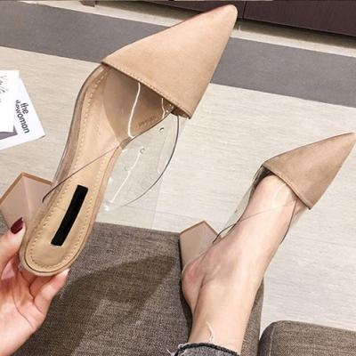 KEITH-WILL時尚鞋館-花樣年華素色透明高粗跟鞋-米色