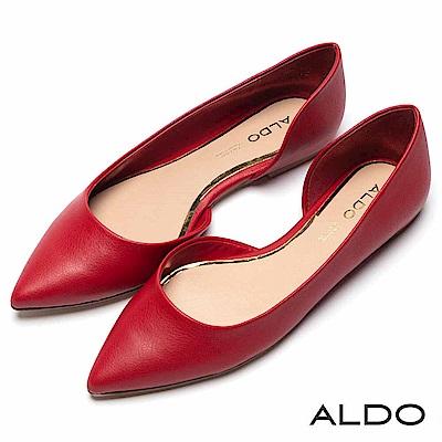 ALDO 原色不對稱金邊真皮鞋墊尖頭粗跟便鞋~魅惑紅色