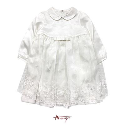Annys純白公主系珍珠蕾絲高緞洋裝*6208米白