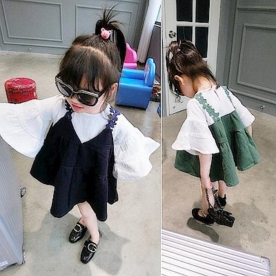 小衣衫童裝  假2件花吊帶喇叭袖娃娃裙洋裝1070311
