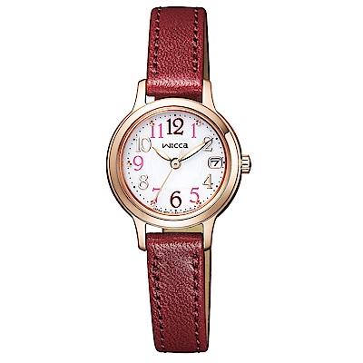 WICCA晶鑽真皮手錶KH4-963-10-玫瑰金框X紅帶/23mm