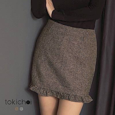 東京著衣 氣質百搭千鳥紋剪接荷葉裙擺短裙-S.M.L(共二色)