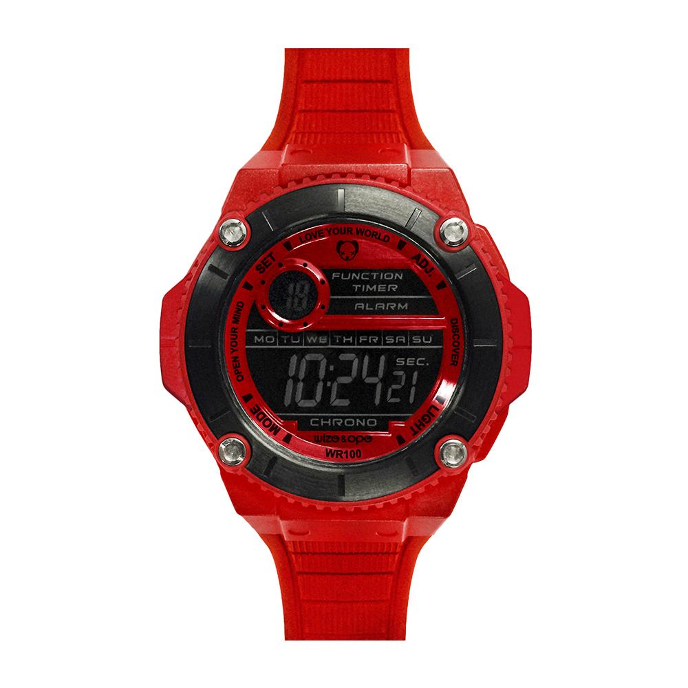 Wize&Ope WAX系列 潮流玩家復刻電子錶-炫彩紅/49mm