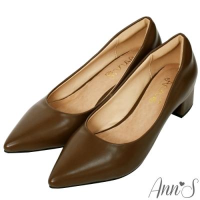 Ann'S加上優雅低跟版-復古皮革沙發後跟低跟尖頭鞋-卡其