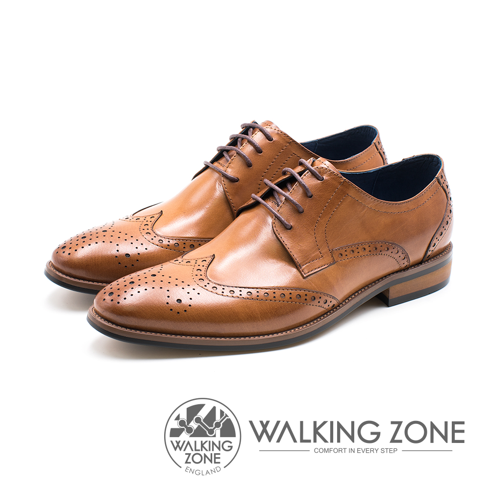 WALKING ZONE 雕花壓紋圓頭綁帶車縫男皮鞋-棕(另有黑)