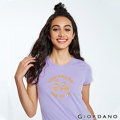 GIORDANO 女裝英文標語印花短袖T恤-44 迷蒙丁香紫