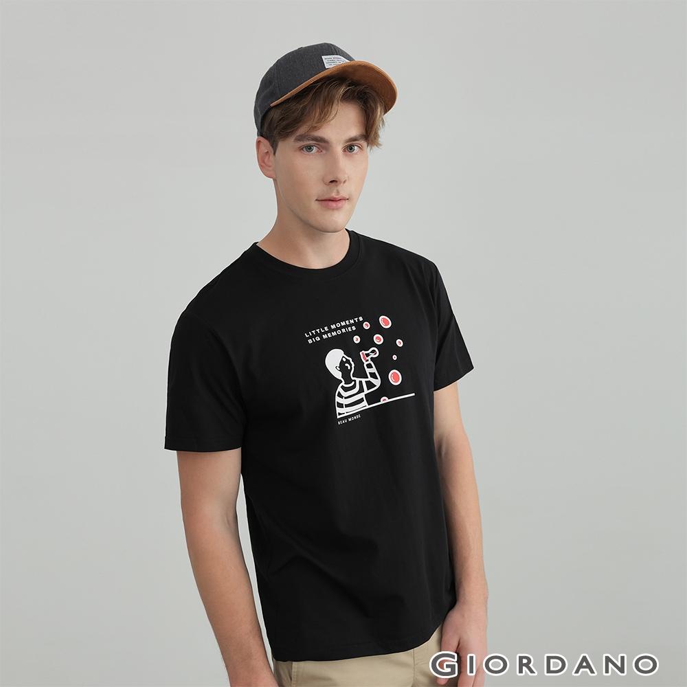 GIORDANO 男裝多樣圖案印花T恤 - 18 標誌黑