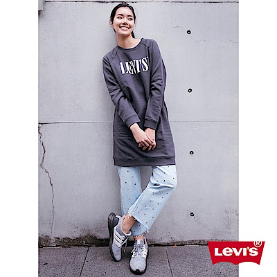 Levis 女款 Ribcage 超高腰排釦牛仔褲 鉚釘水鑽 褲管小抽鬚