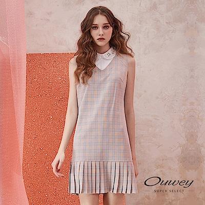 OUWEY歐薇 英格蘭格紋造型百褶裙洋裝(粉)