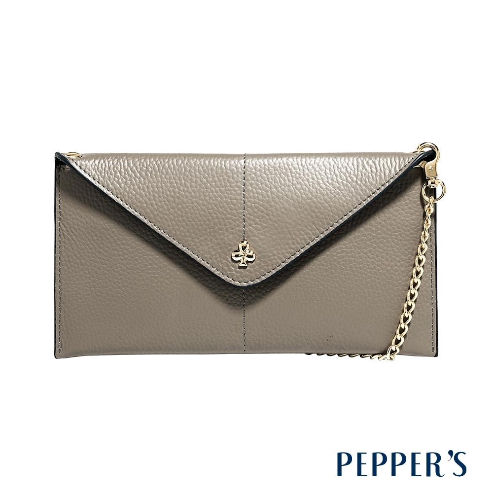 PEPPER'S Doris 牛皮信封手機包 - 亞麻灰