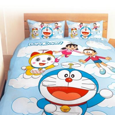 享夢城堡 雙人加大床包兩用被套四件組-哆啦A夢DORAEMON 飛向天空-藍