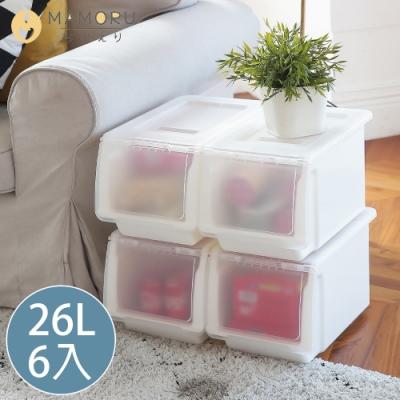 好購家居 日本亞馬遜暢銷大容量可堆疊掀蓋收納箱-26L(6入)