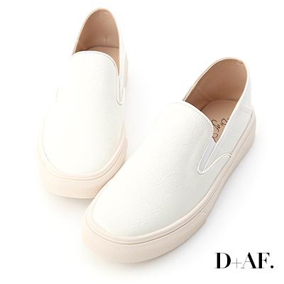 D+AF 百搭主流.漆皮可後踩休閒懶人鞋*白