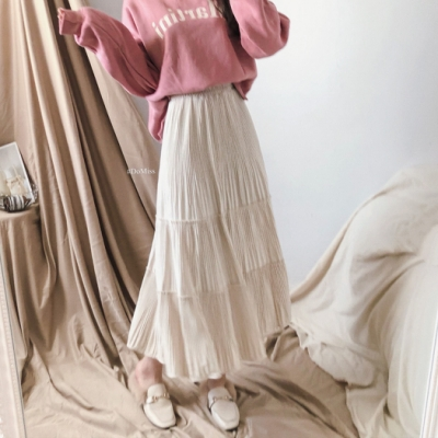 Domiss 蛋糕絲絨布長裙(4色)