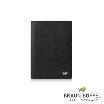 BRAUN BUFFEL -HOMME-M系列3卡護照夾 - 黯黑