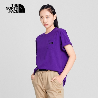 The North Face 男女 胸前口袋短袖T恤 紫-NF0A4NEVNL4