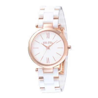 Folli Follie 螺旋球網陶瓷腕錶-白X玫瑰金(WF16R029BPS-XX)