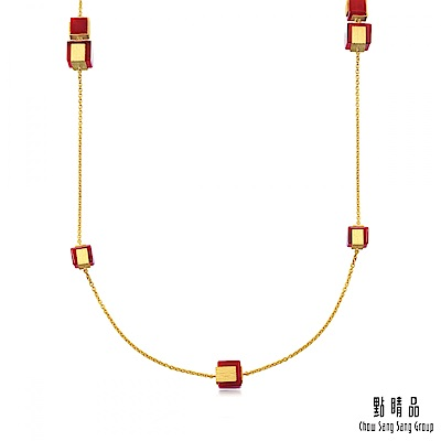 點睛品g collection 方形紅瑪瑙 黃金項鍊