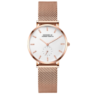HANNAH MARTIN 典藏極簡小秒針盤設計米蘭帶腕錶-白/36mm