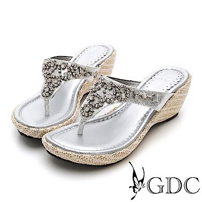 GDC-貴氣閃耀水鑽楔型夾腳拖鞋-銀色