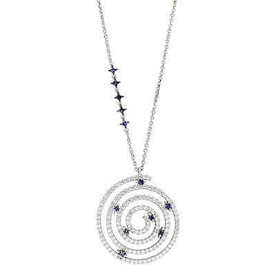 apm MONACO法國精品珠寶 閃耀銀色鑲鋯曼陀羅項鍊