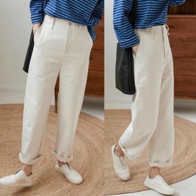 洗水棉白色牛仔直筒褲寬鬆-設計所在