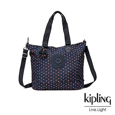 Kipling紅黃幾何印花手提包-SHOPPER C