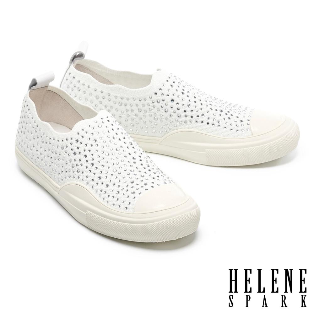休閒鞋 HELENE SPARK 時尚閃耀晶鑽彈力飛織布厚底休閒鞋-白
