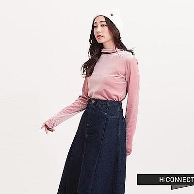 H:CONNECT 韓國品牌 女裝 - 復古絲絨T-Shirt-粉(快)