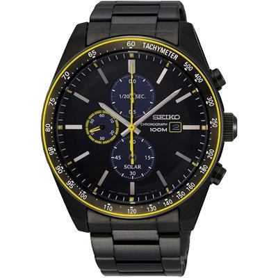 SEIKO 精工Criteria太陽能計時手錶SSC729P1-黑X黃/44mm