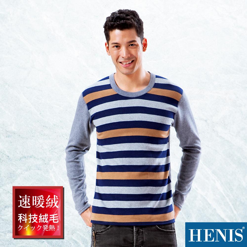 HENIS 速暖絨彈性印花長袖衫_麻灰/藍/咖啡