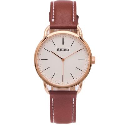 SEIKO 文青風格皮革錶帶手錶(SUR238P1)-白色面X咖啡色/35mm