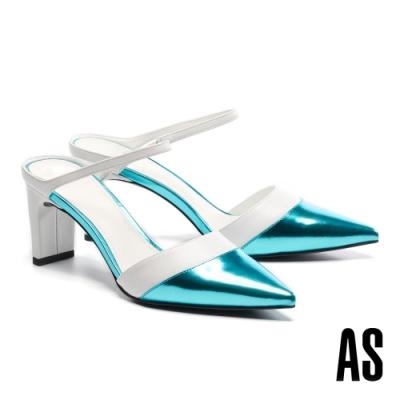 穆勒鞋 AS 金屬科幻未來撞色尖頭高跟拖鞋-白
