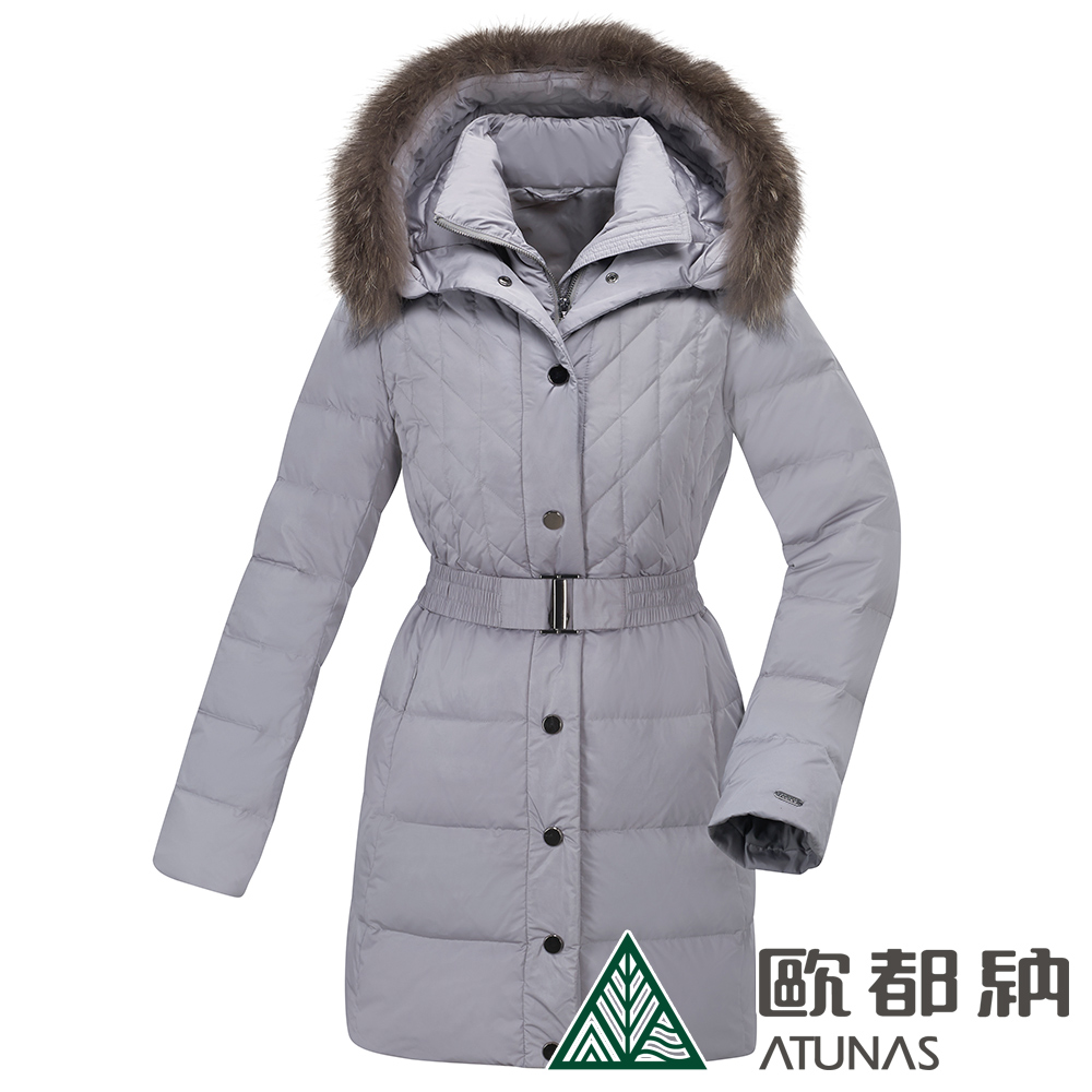【ATUNAS 歐都納】女款時尚羽絨防風保暖中長版外套A1-G1829W米卡其