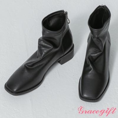 Grace gift-韓系方頭皺皺皮革靴 黑