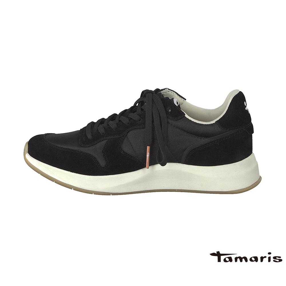 TAMARIS(女) 復古老爹 尼龍VS牛皮高彈力都會運動鞋 - PAPA黑