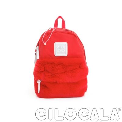 CILOCALA 限量版-亮彩尼龍毛毛防潑水後背包-紅色(小)
